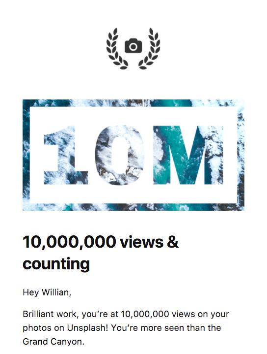 Um screenshot do email com 10M escrito sobre uma foto de uma cachoeira