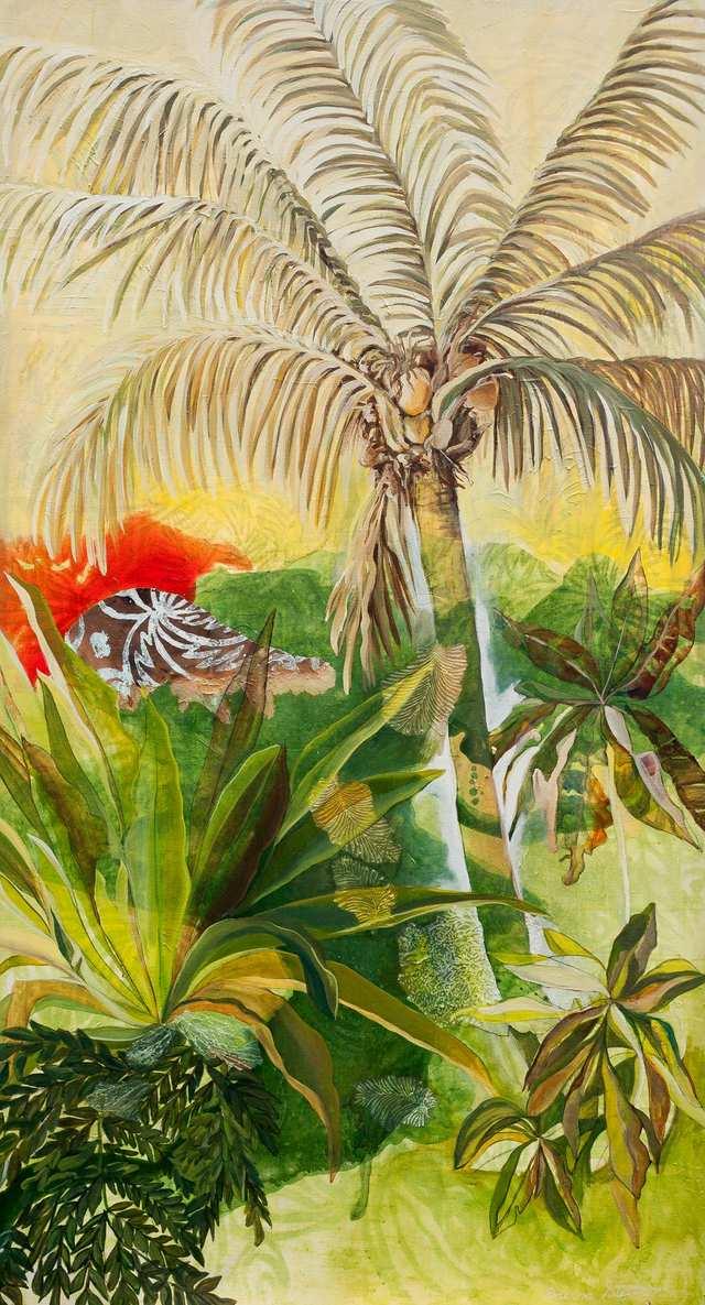 Fire Palm Jungle, woodblock acrylic on canvas