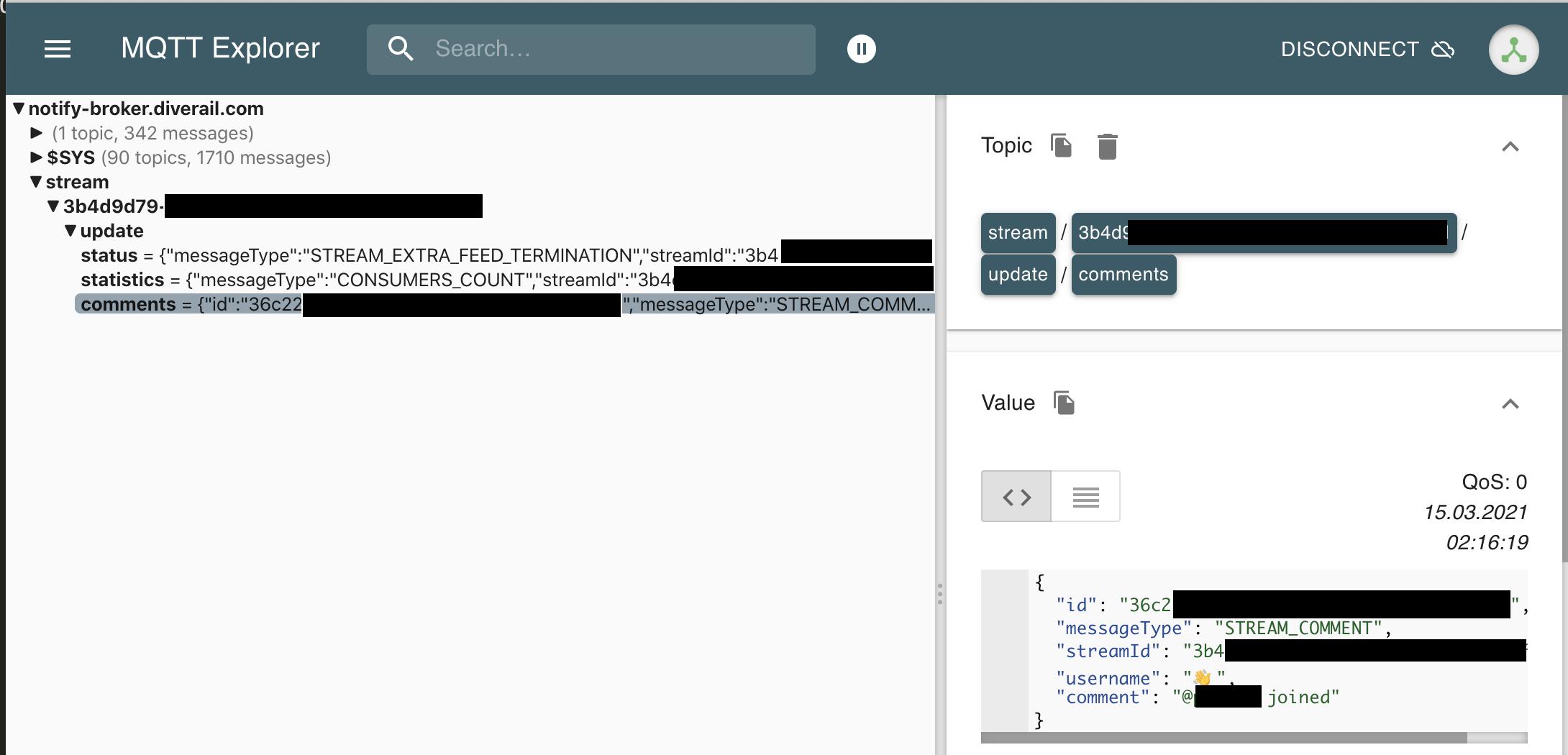 Screenshot von MQTT-Messages, wie z.B. dass eine Benutzer\*in den Raum betreten hat