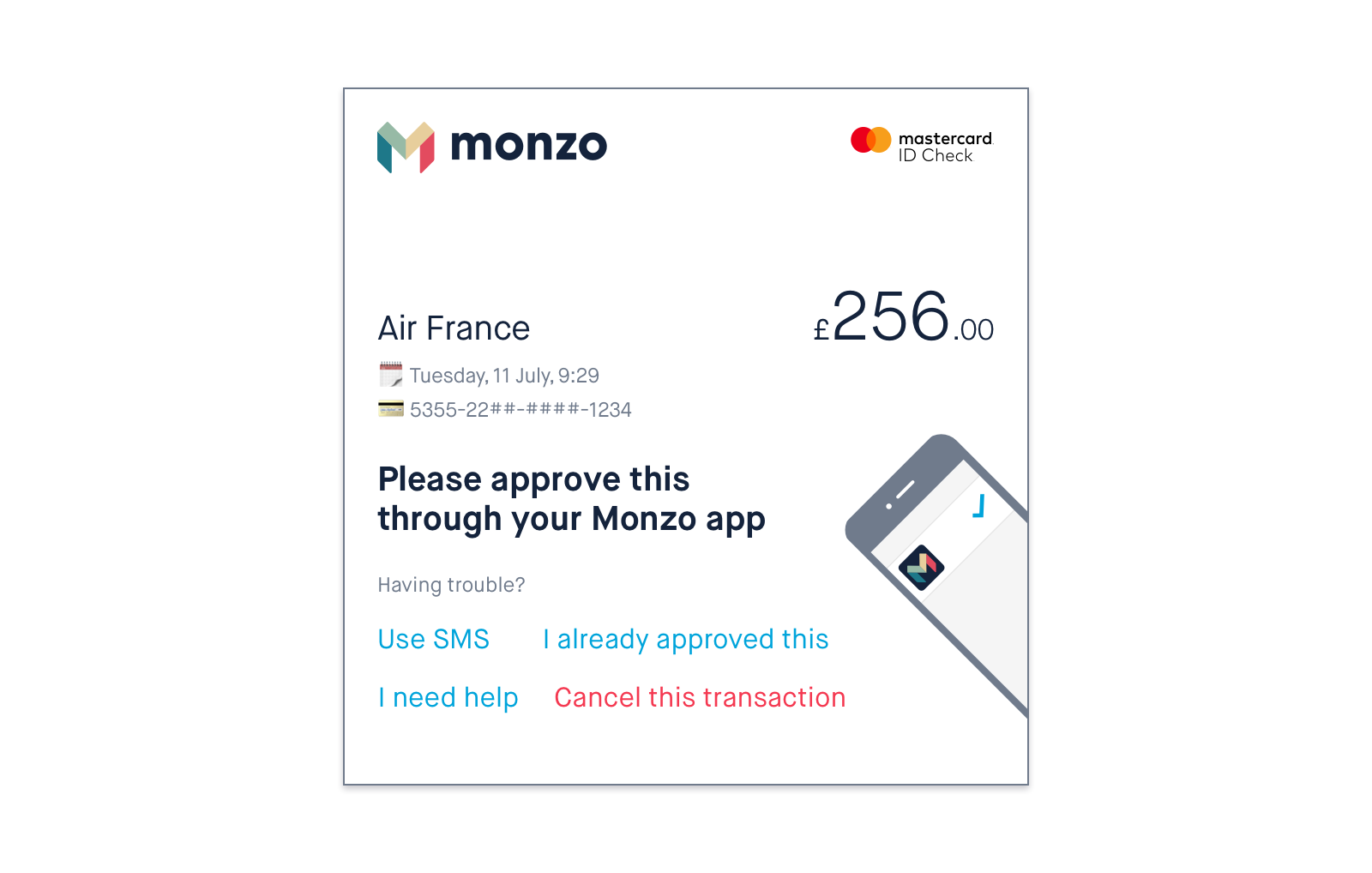 Screenshot of the Monzo 3D Secure experience