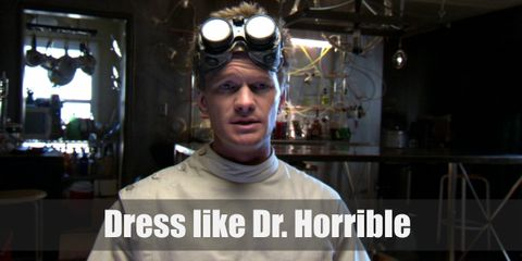 """Follow the typical scientist costume and then add a few accessories, special to Dr. Horrible's character at the end. """