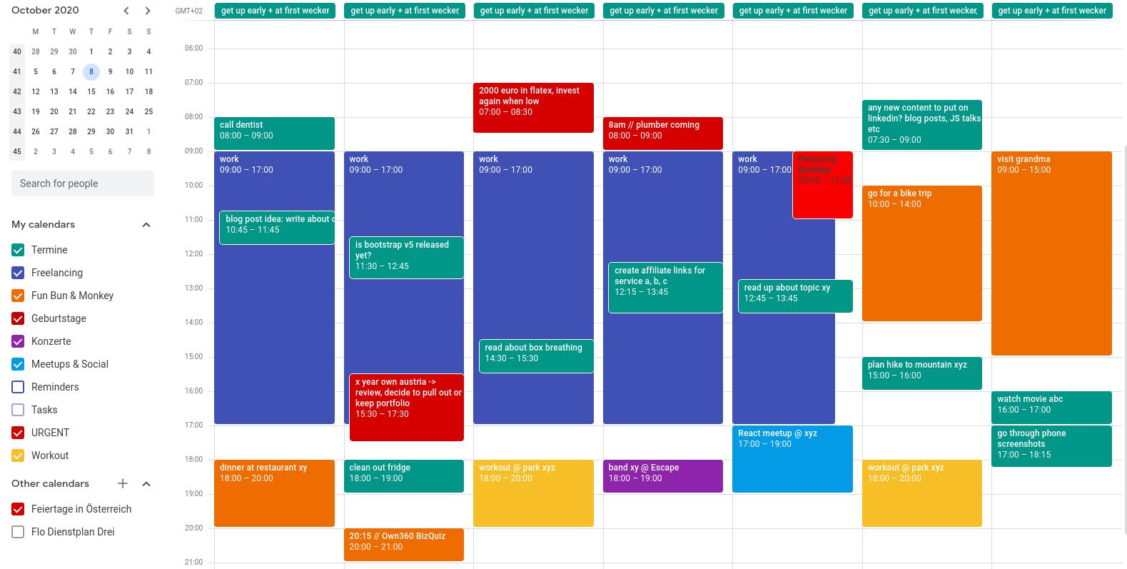 Google Calendar weekly view