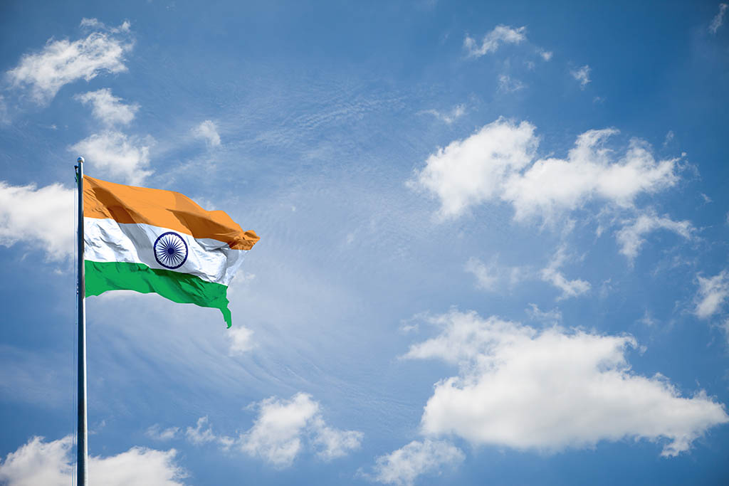 Indian flag fluttering in the wind