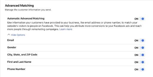 Facebook ads advance matching set up.