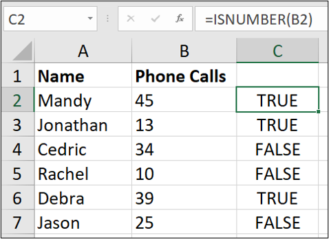 """An Excel spreadsheet containing data for """"name"""" and """"number of phone calls."""" The =ISNUMBER(B2) formula has been entered, with the third column containing either """"true"""" or """"false"""" depending on whether the data has been stored as a number or as text."""