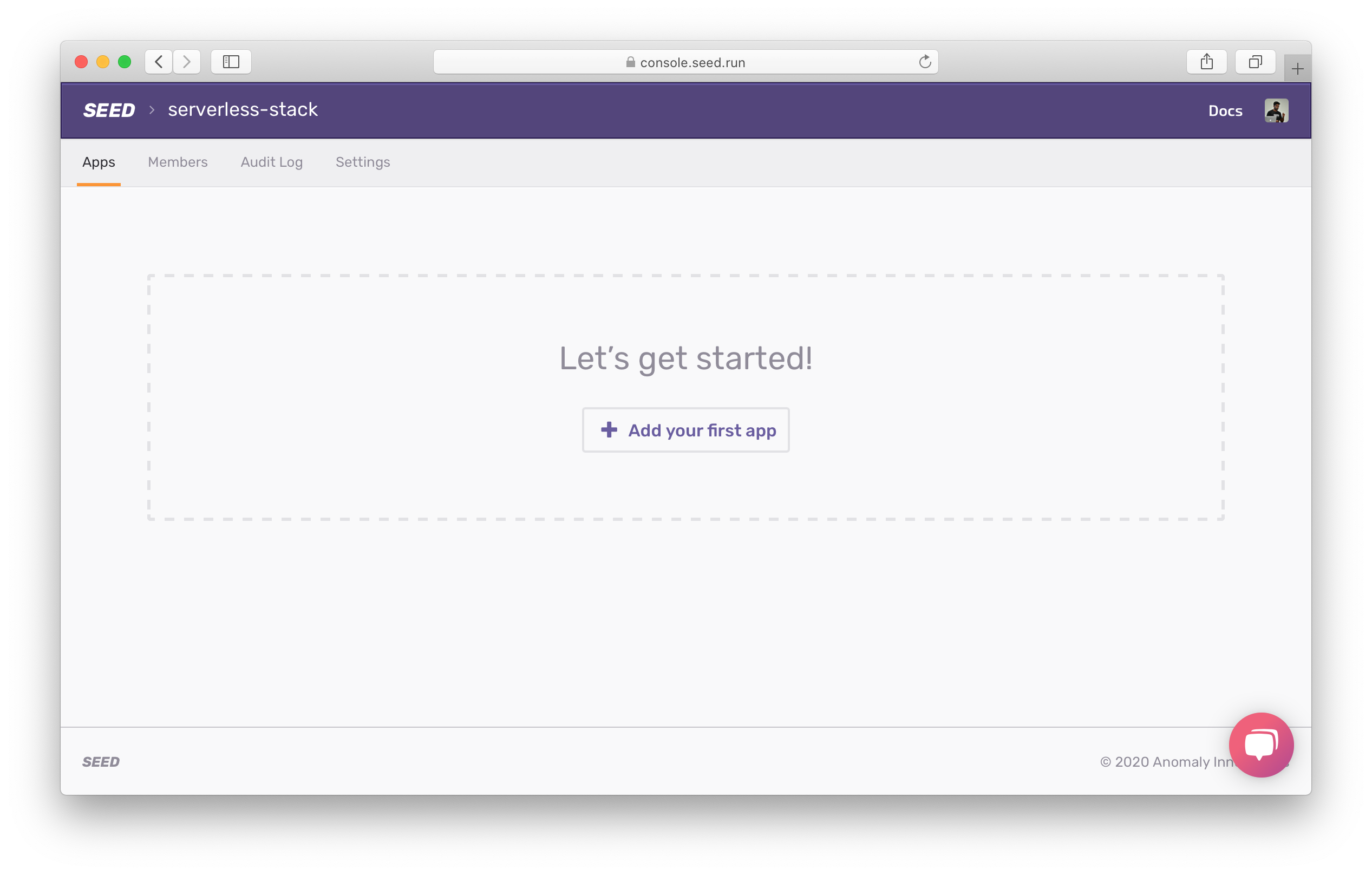 Add your first Seed app screenshot