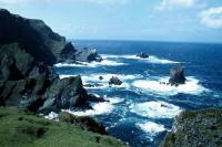 Jagged cliffs in Unst