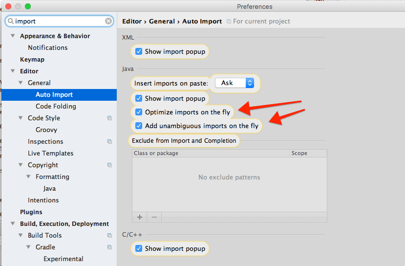 android studio auto-import settings