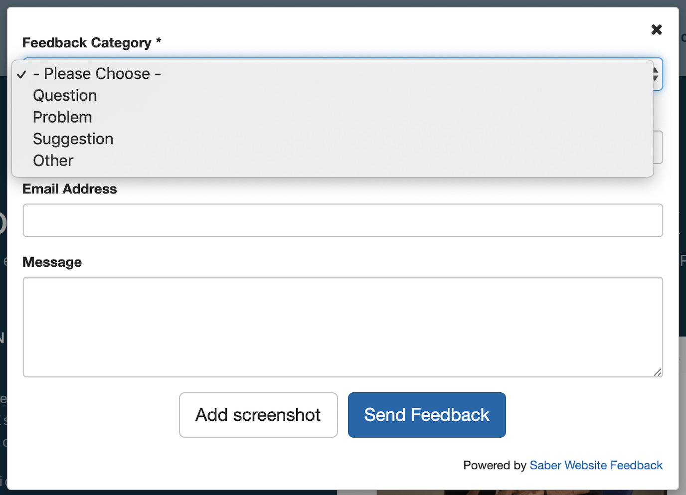 Saber Feedback form example general