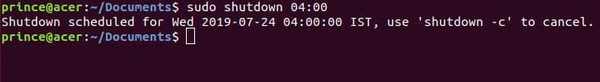 shutdown linux command example