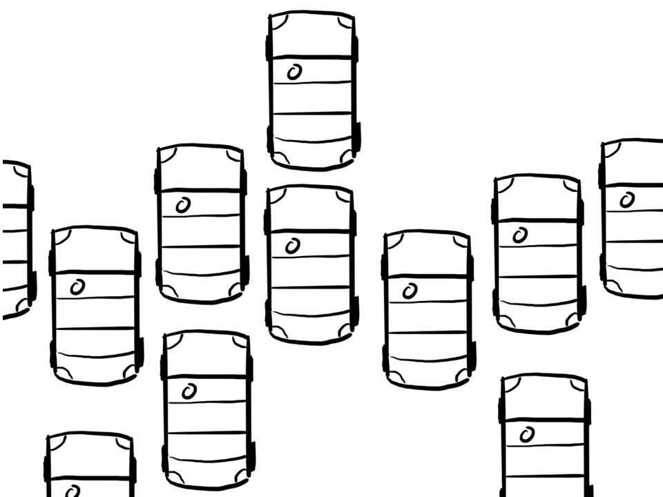 Cartoon of a car with many cars to its sides