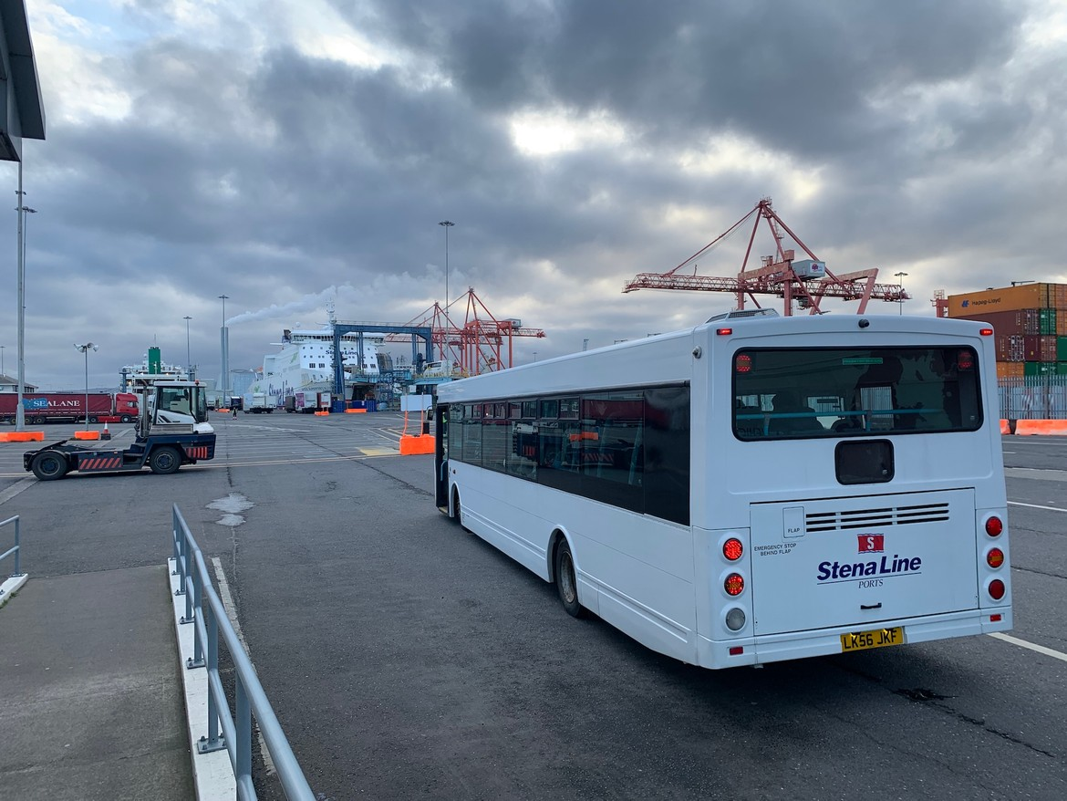 A whole bus to help 27 pedestrians and 3 cyclists get 200 meters onto the boat