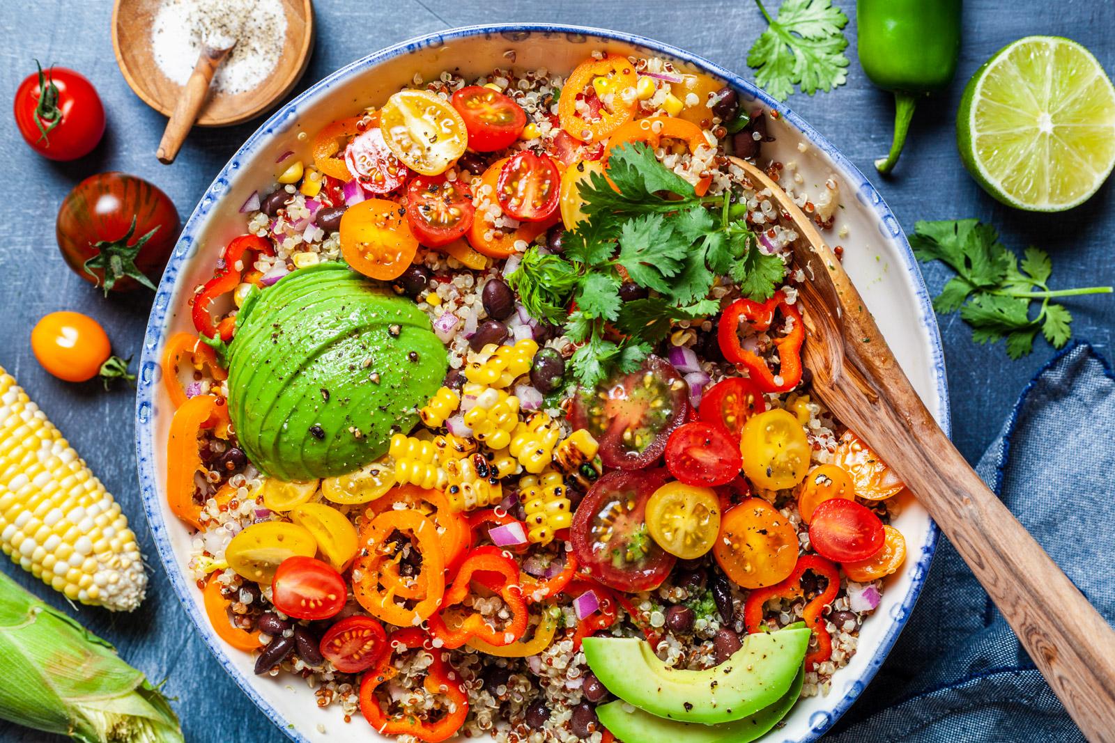 Corn and Quinoa Salad With a Cilantro Jalapeño Lime Dressing