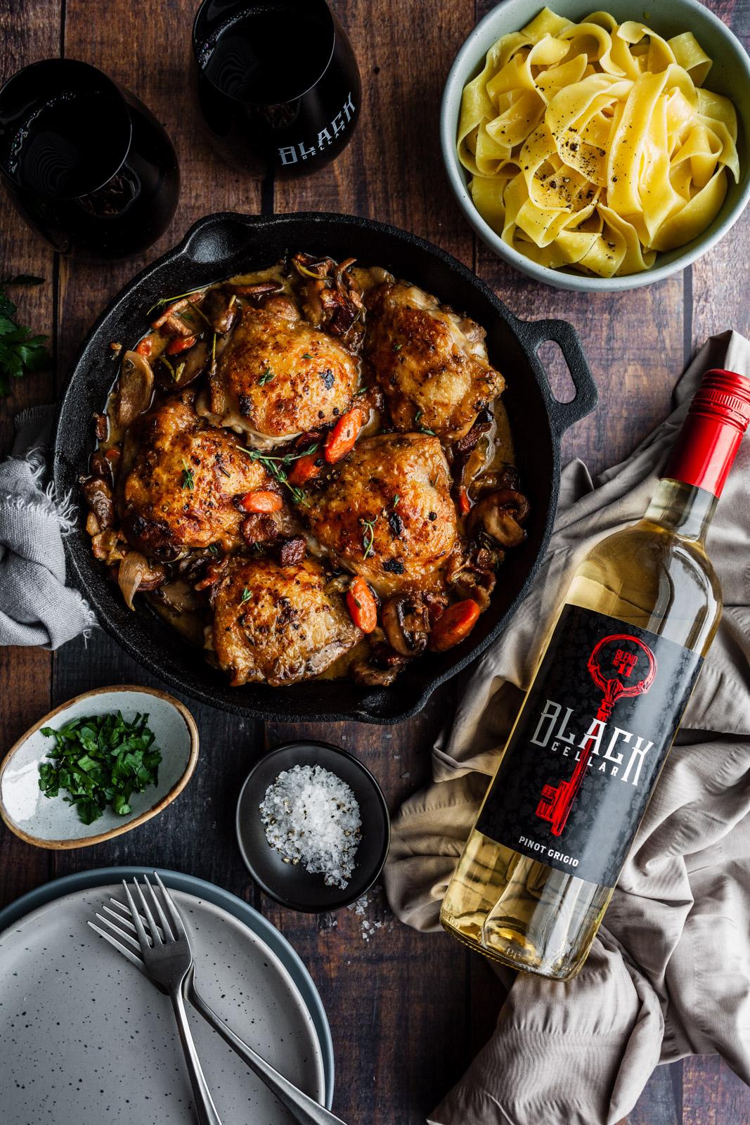 Quick One Pan Coq Au Vin Blanc