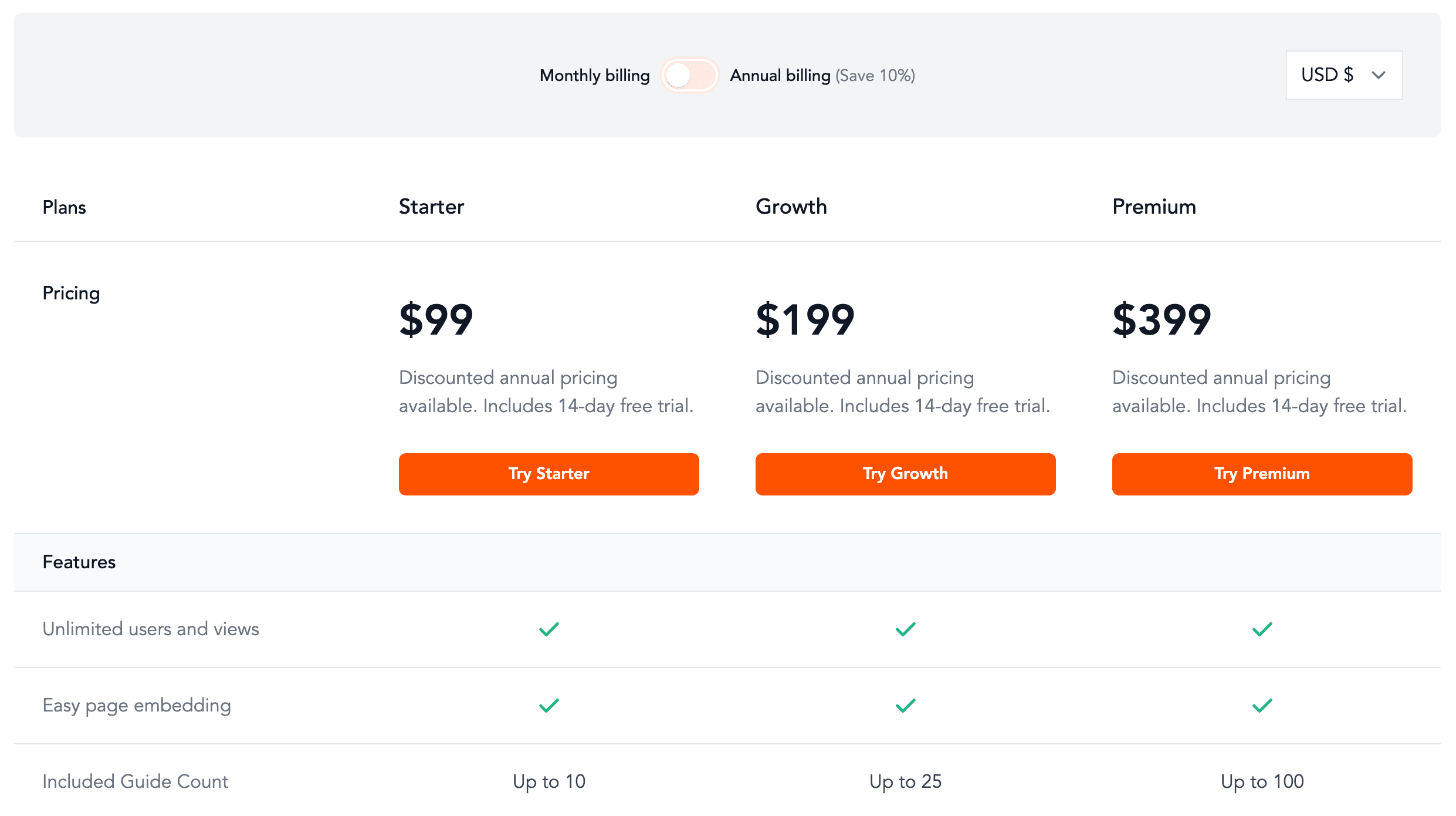 Screenshot of Nickelled Pricing