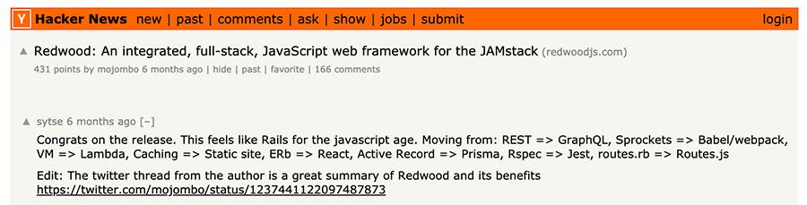 Hacker News Post on RedwoodJS