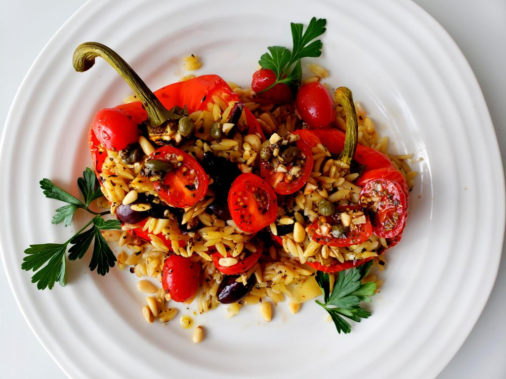 Italian Stuffed Peppers with Lemon Orzo | Let's Talk Vegan