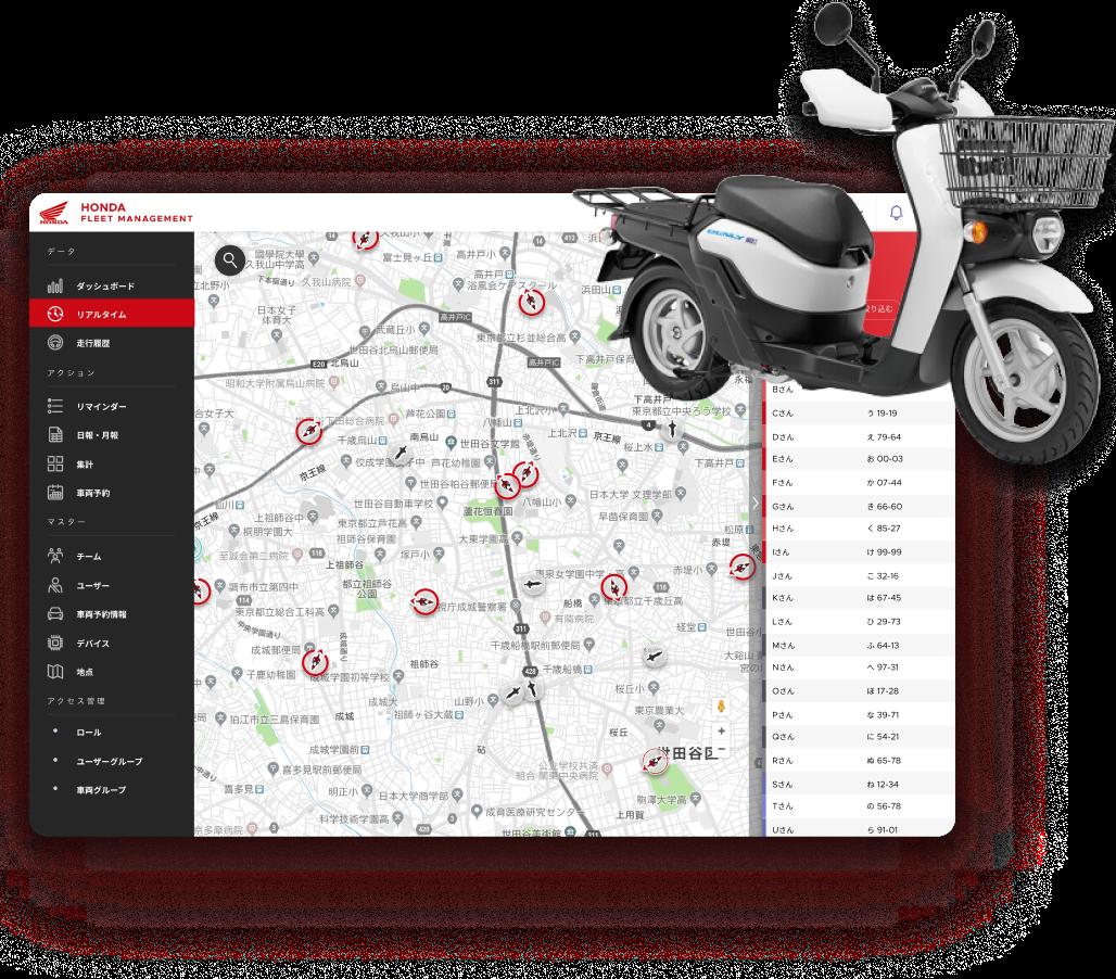 HONDA FLEET MANAGEMENTの画面スクリーンショットとスクーター写真