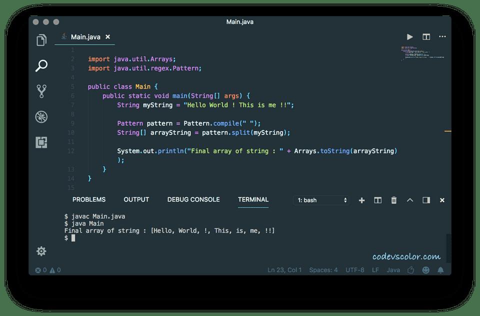 java program to convert string array of string