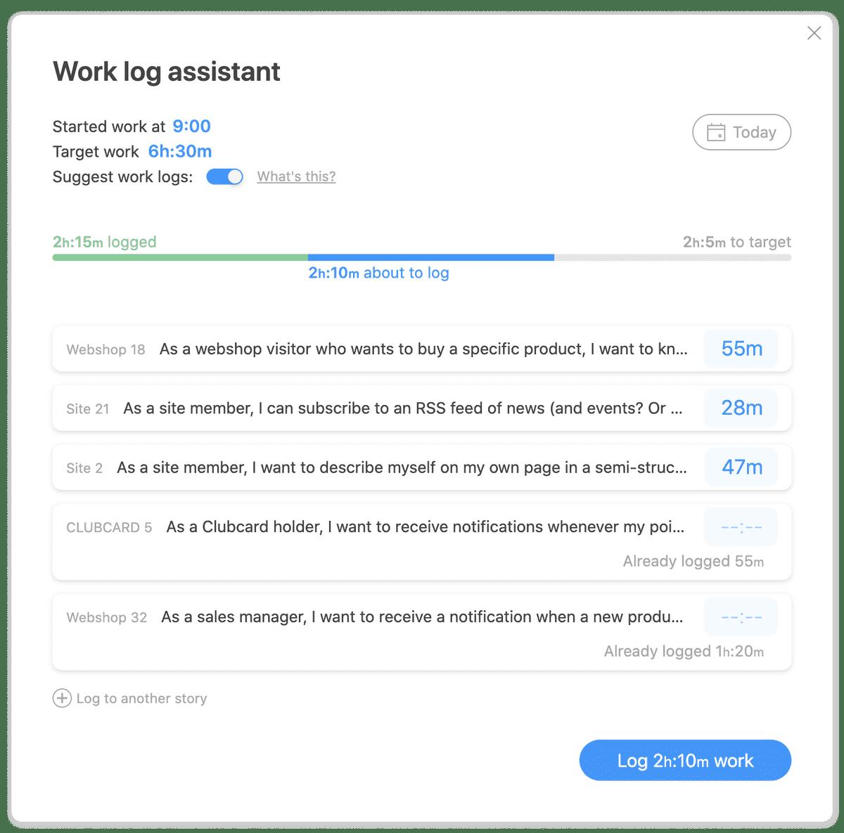 Work log assistant