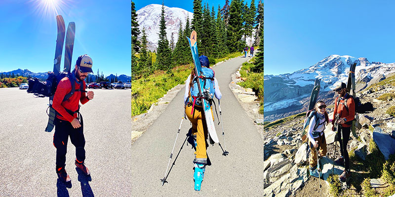 (Left) Hiking from Paradise Park to ski down Mt. Rainier. (Center) Hiking with skis up Mount Rainier, (Right) Hiking with skis in Mount Rainier National Park.