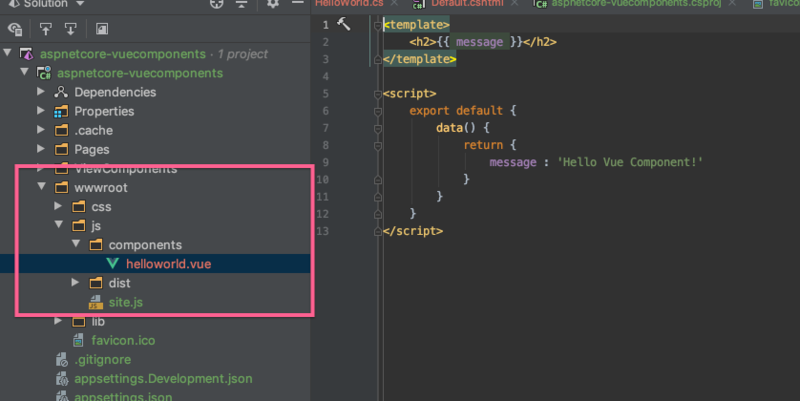 vue component in asp.net core project