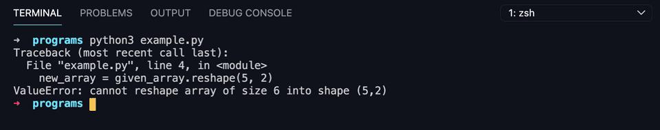 python numpy reshape example