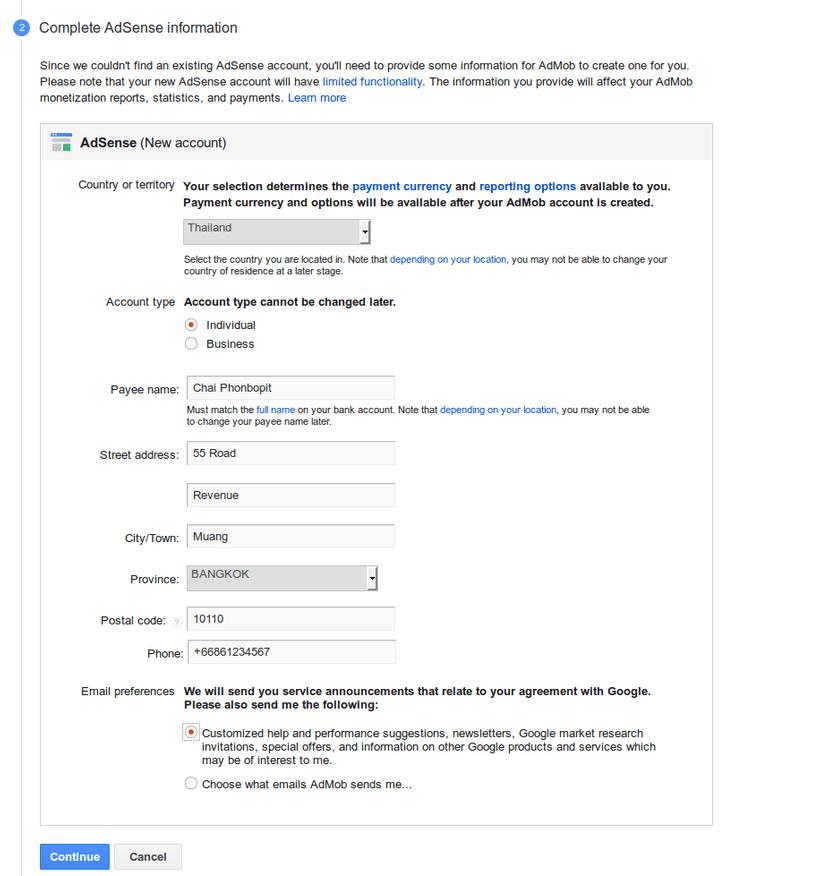 Admob Register 2