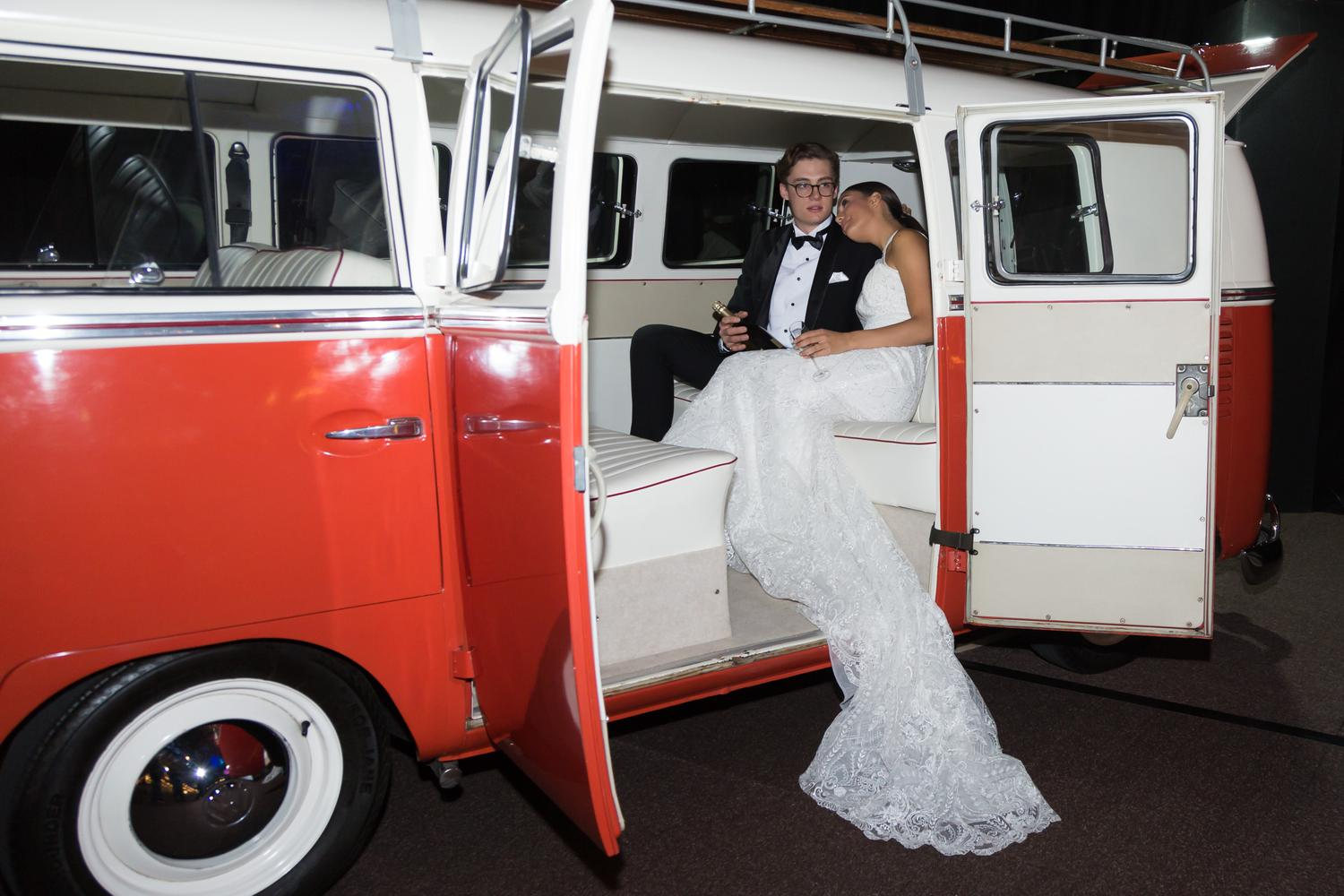 couple posing in kombi