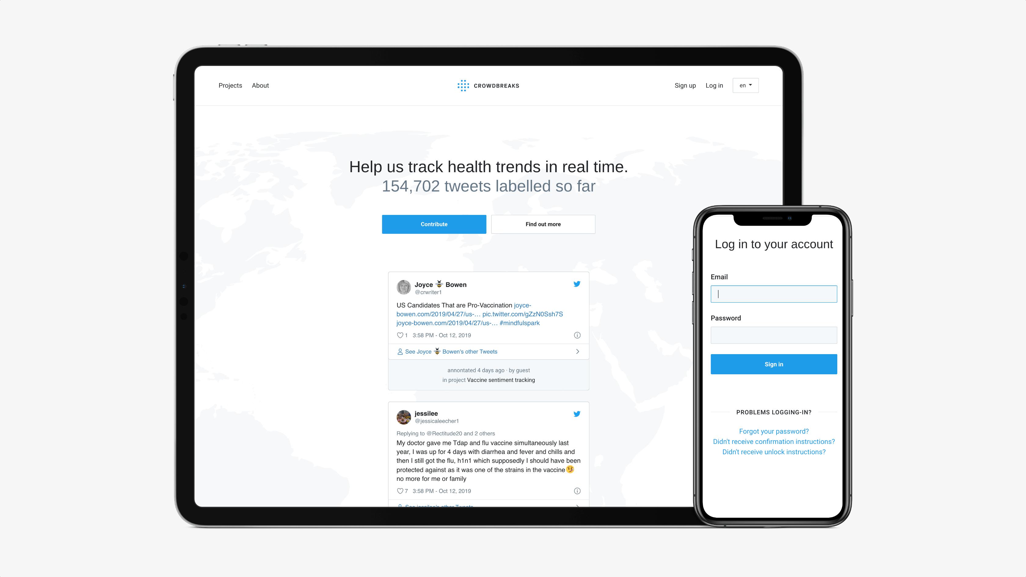 Screenshots of the Crowdbreaks website