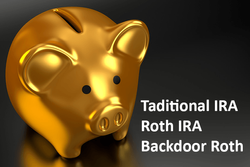 A piggy bank with IRA options in text.
