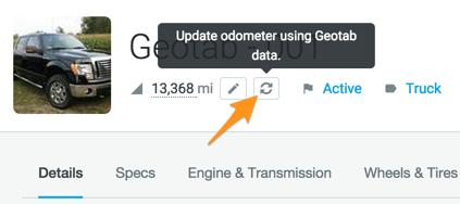 sync geotab gps odometer reading
