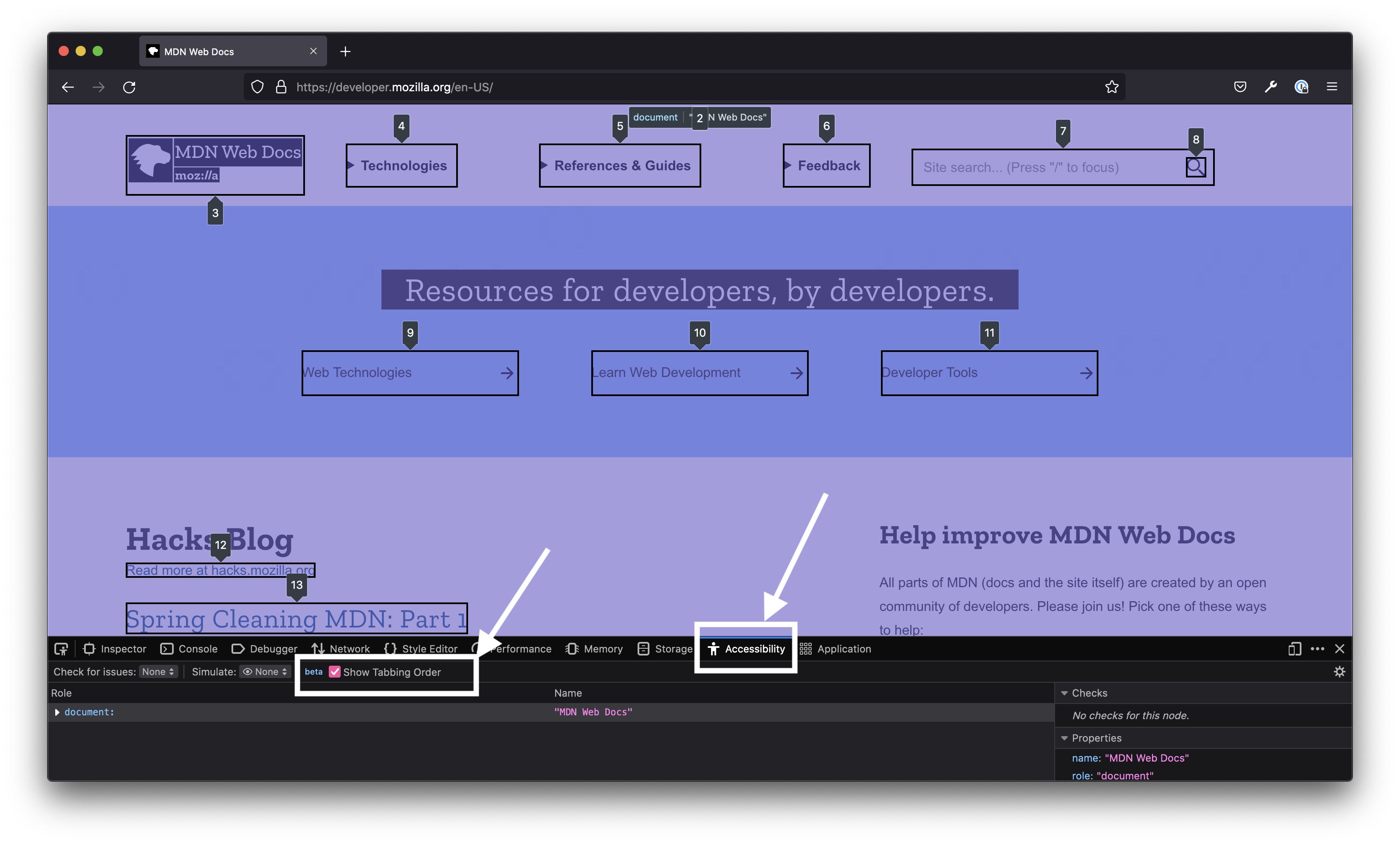 The MDN homepage open in Firefox browser with the devtools open to the Accessibility tab. In the Accessibility tab, a checkbox that says 'Show Tabbing Order' is checked. And an overlay covers the page and shows the various Tab stops numbered.