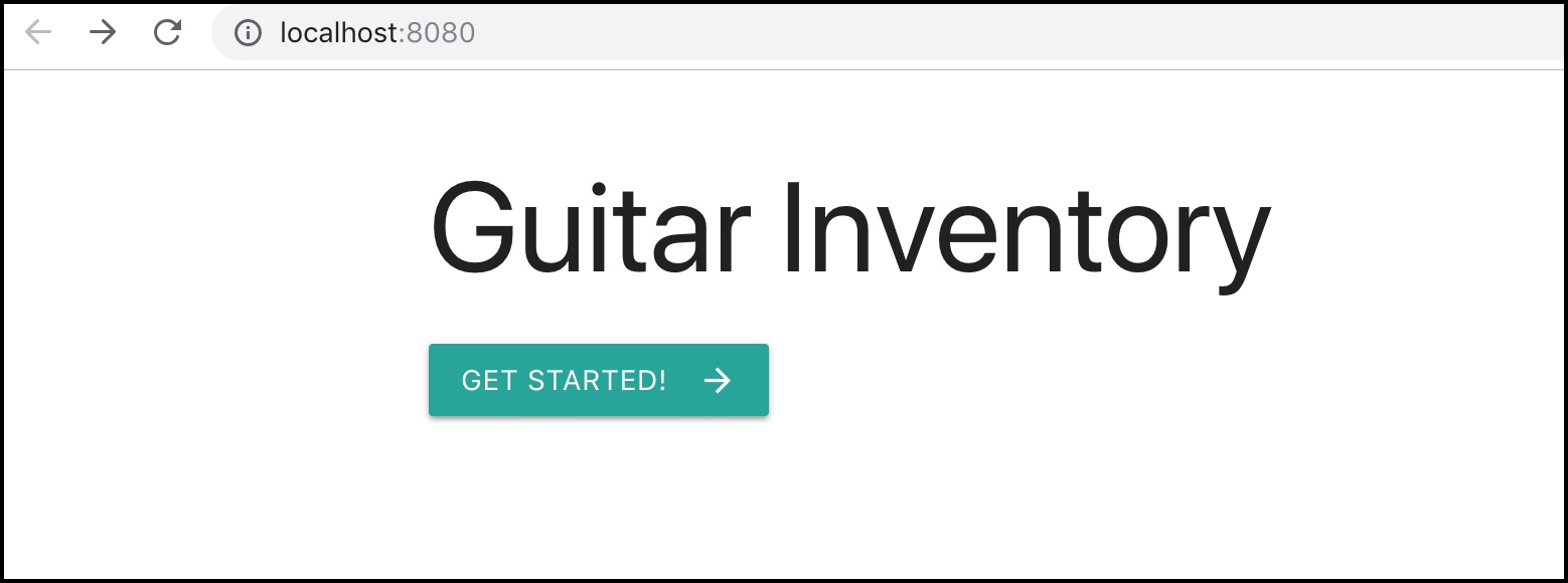 Guitar Inventory home page
