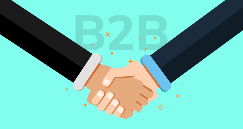 B2B customers, an illustration of shaking hands.