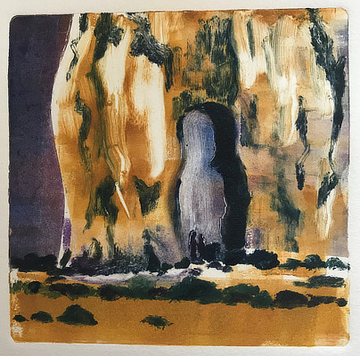 colourful monoprint of dramatic cliff formation