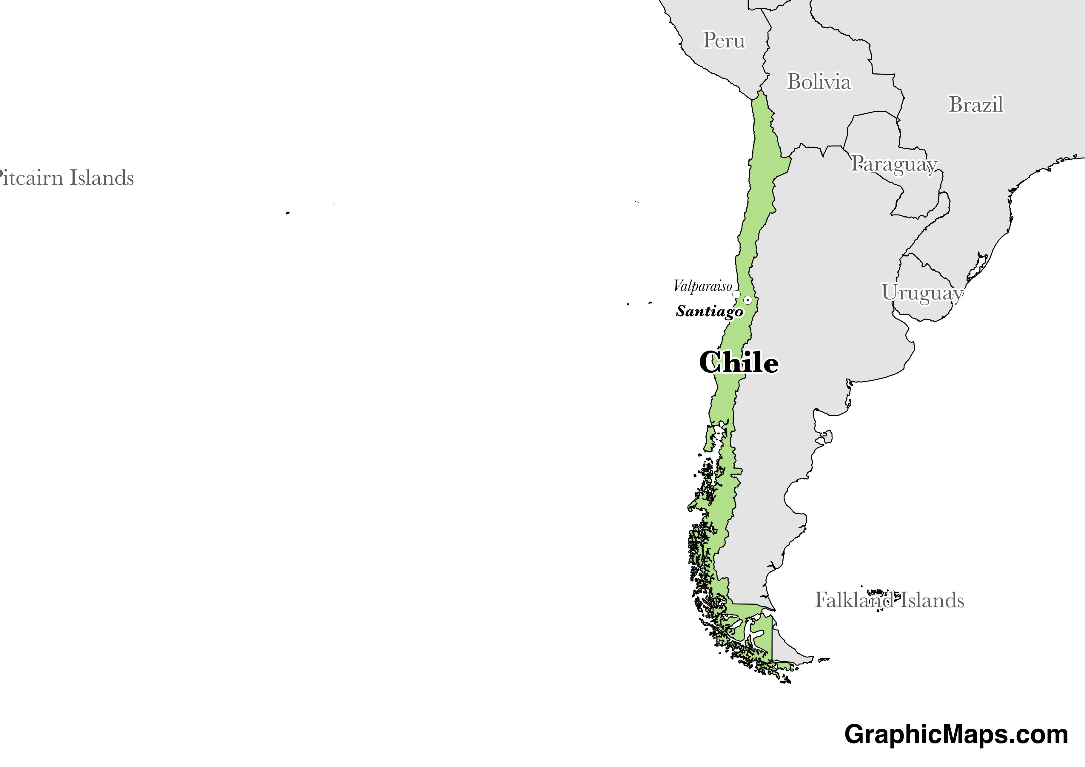 Map showing the location of Chile