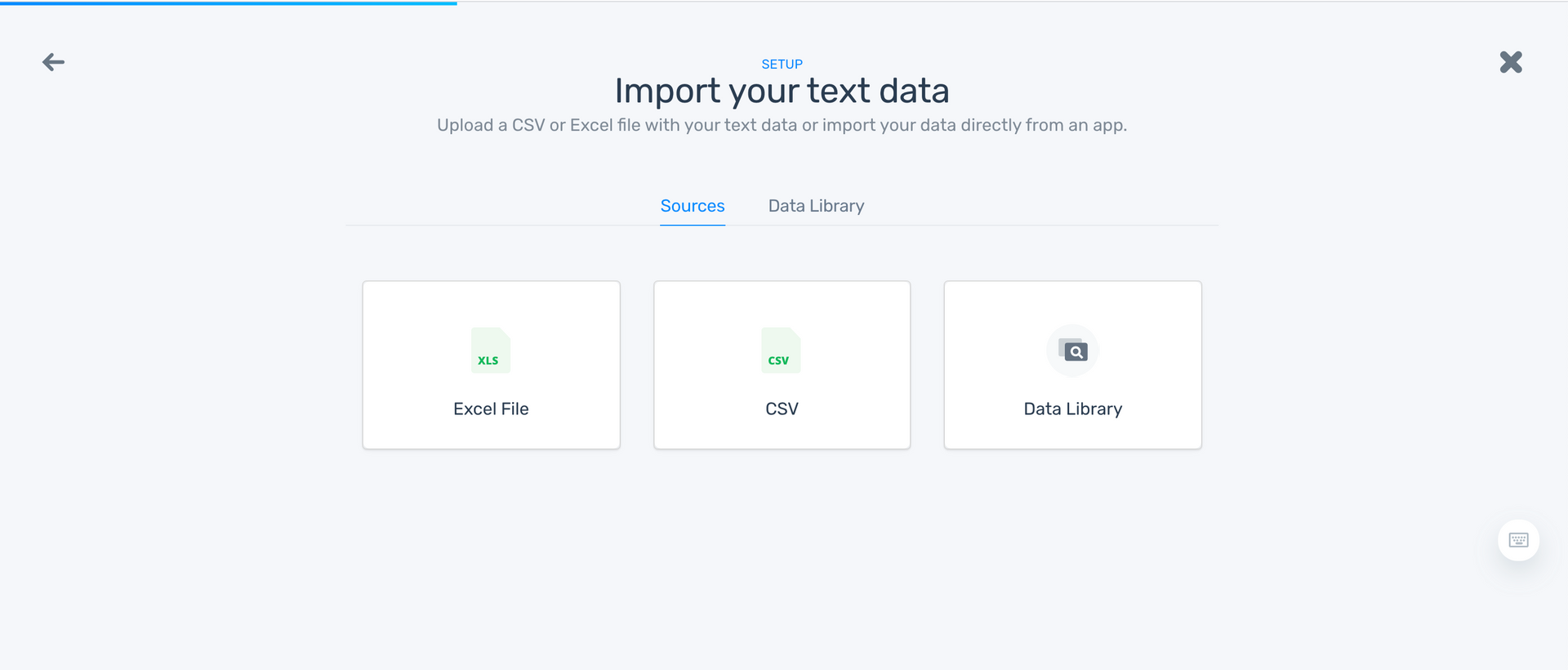 Step to uploda data: as an excel file or CSV