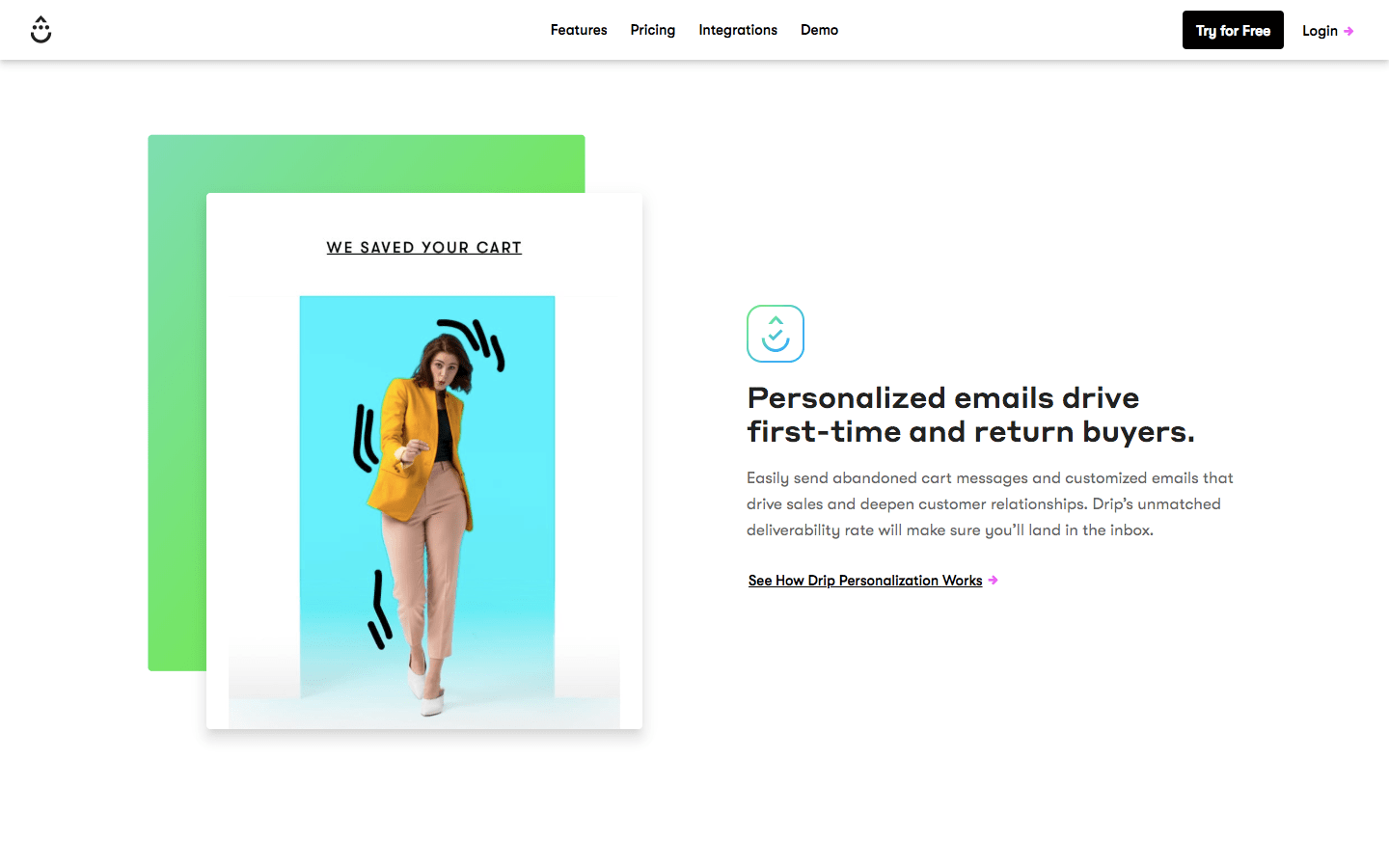 Personalisation section of Drip's homepage