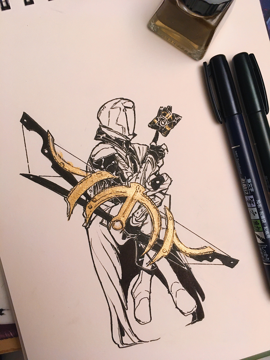 Inked version, with the bow in gold ink.