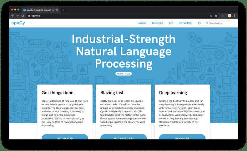Screenshot of spaCy website