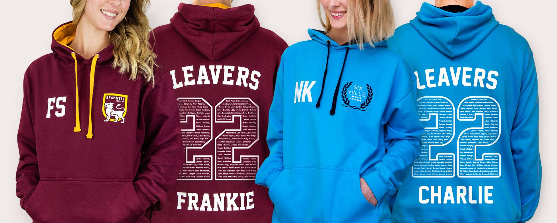 Students in colourful school leavers hoodies with a large 22 printed on the back