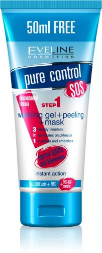 EVELINE Pure Control 3in1 Lemosó gél + peeling + maszk 200 ml
