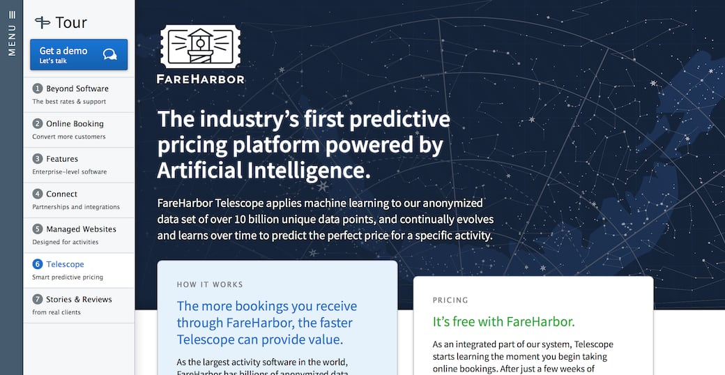Screenshot showing a page on the FareHarbor website advertising a feature named FareHarbor Telescope.