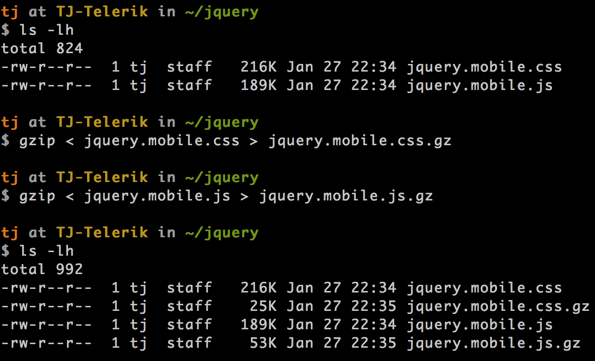 Running gzip on jQuery Mobile files
