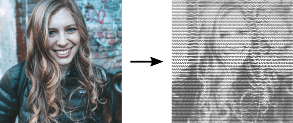 Raster portrait converted to squiggle svg