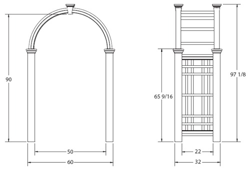 Westchester Arbor wireframe dimensions