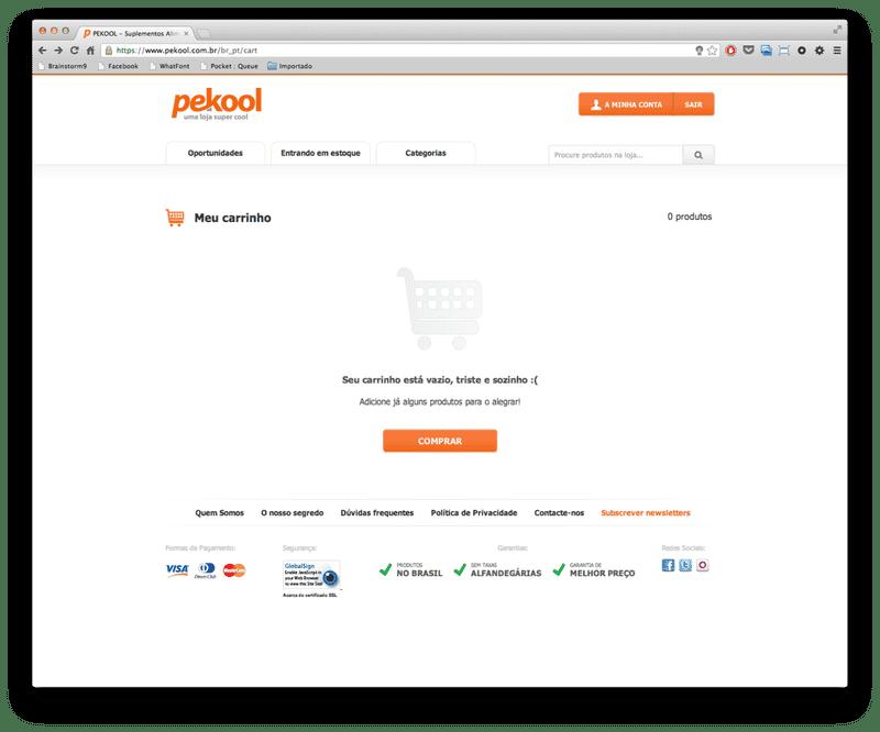 Screenshot of No items in the Pekool shopping cart
