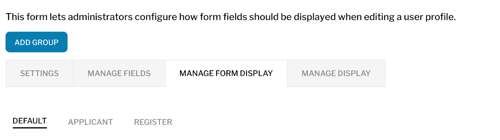 User manage form display page