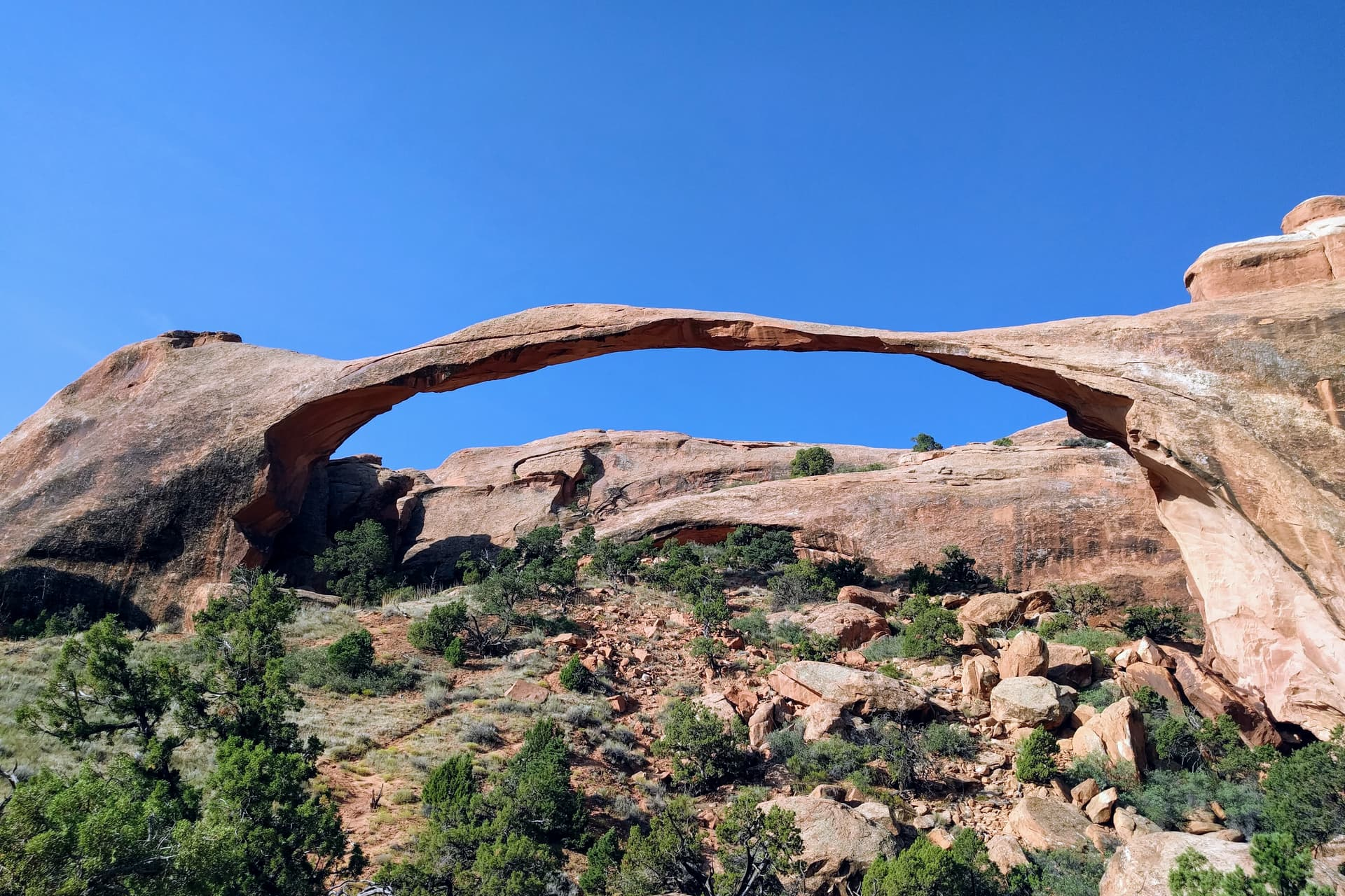 An incredibly thin red sandstone arch.